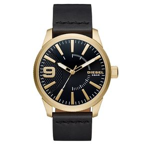 Diesel Men's Gold-Plated Black Leather Strap Watch - Product number 6193935