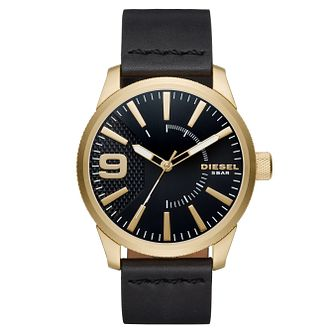 Diesel Gold-Plated Black Dial Black Leather Strap Watch - Product number 6193935