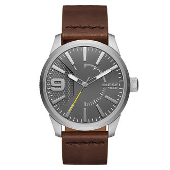 Diesel Stainless Steel Grey Dial Brown Leather Strap Watch - Product number 6193943