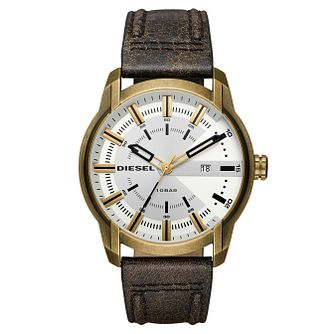 Diesel Gold-Plated Silver Dial Brown Leather Strap Watch - Product number 6193951