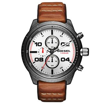 Diesel Stainless Steel Silver Dial Tan Leather Strap Watch - Product number 6193986