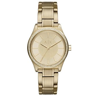 Armani Exchange Ladies' Stone Set Gold-Plated Bracelet Watch - Product number 6194036