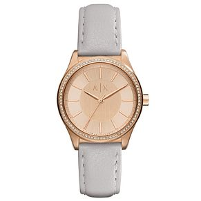 Armani Exchange Ladies' Rose Gold Grey Leather Strap Watch - Product number 6194060