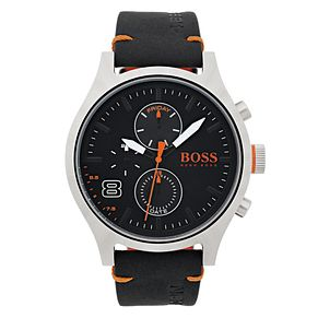 Hugo Boss Orange Men's Black Leather Strap Watch - Product number 6194478