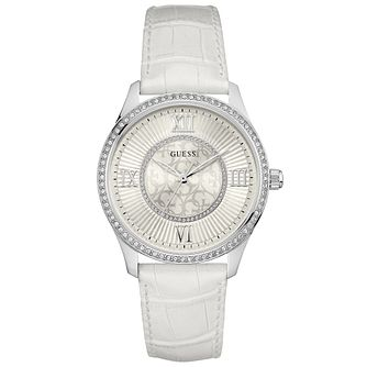 Guess Ladies' White Dial White Leather Strap Watch - Product number 6194826