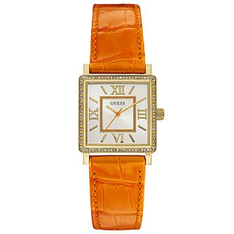 Guess Ladies' Stone Set Orange Leather Strap Watch - Product number 6194850