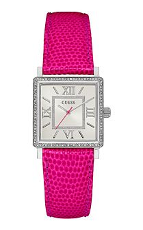 Guess Ladies' Stone Set Pink Leather Strap Watch - Product number 6194869