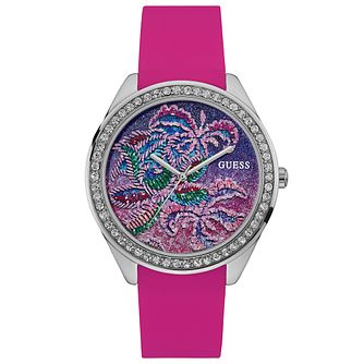Guess Ladies' Stone Set Pink Silicone Strap Watch - Product number 6194982