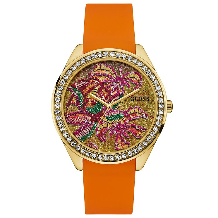 Guess Ladies' Stone Set Orange Silicone Strap Watch - Product number 6194990