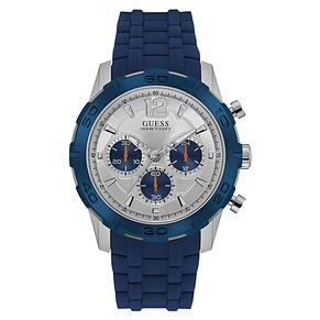 Guess Men's Silver Dial Blue Silicone Strap Watch - Product number 6195016