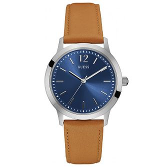 Guess Blue Dial Tan Leather Strap Watch - Product number 6195067