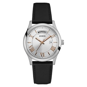 Guess Mens Merger Black Leather Strap Watch - Product number 6195075
