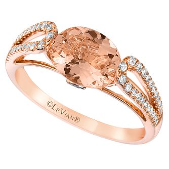 Le Vian 14ct Strawberry Gold Peach Morganite & Diamond Ring - Product number 6207839
