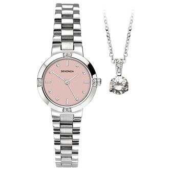 Sekonda Ladies' Stainless Steel Bracelet Watch & Pendant Set - Product number 6210872