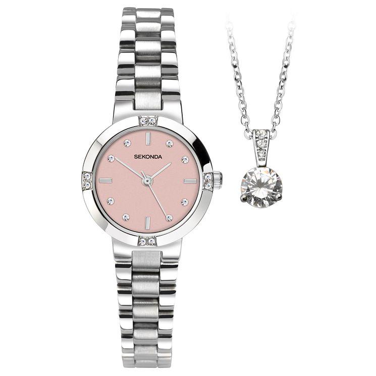 Sekonda La s Stainless Steel Bracelet Watch & Pendant Set