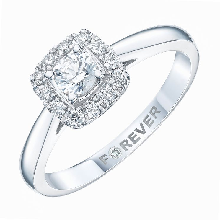 Platinum 1/3 Carat Forever Diamond Halo Ring - Product number 6212042