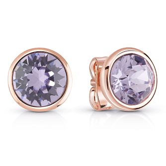 Guess Rose Gold Plated Lavandar Swarovski Crystal Earrings - Product number 6220029