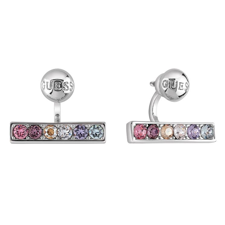 Guess Rhodium Plated Swarovski® Crystal Rainbow Bar Earrings - Product number 6220037