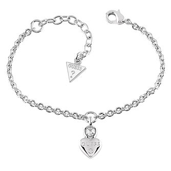 Guess Rhodium Plated Swarovski Crystal Heart Charm Bracelet - Product number 6220207