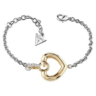 Guess Rhodium & Yellow Gold Plated G Heart Bracelet - Product number 6220231