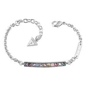 Guess Rhodium Plated Swarovski® Crystal Rainbow Bar Bracelet - Product number 6220274