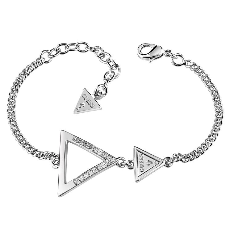 Guess Rhodium Plated Swarovski Crystal Triangle Bracelet - Product number 6220320