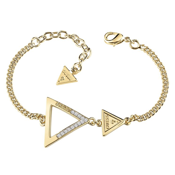 Guess Yellow Gold Plated Swarovski Crystal Triangle Bracelet - Product number 6220339
