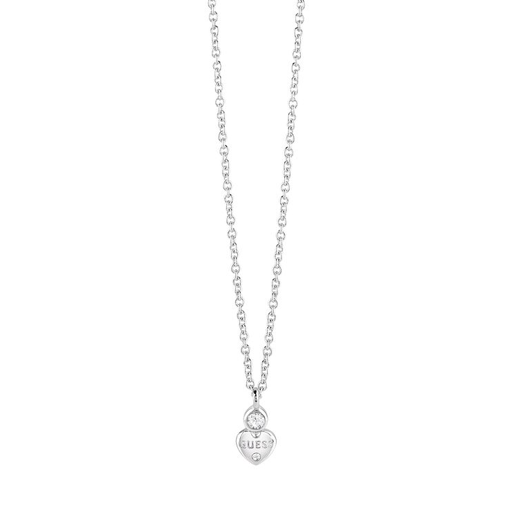 Guess Rhodium Plated Swarovski Crystal Heart Necklace - Product number 6220398