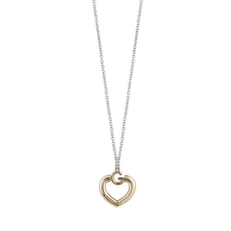 Guess Rhodium & Yellow Gold Plated G Heart Necklace - Product number 6220428