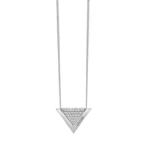 Guess Rhodium Plated Swarovski Crystal Triangle Necklace - Product number 6220495