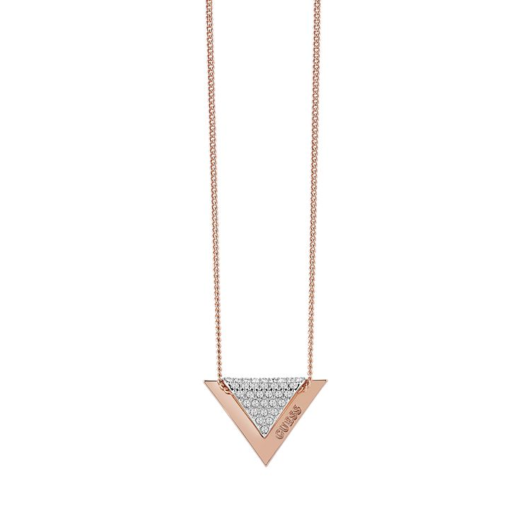 Guess Rose Gold Plated Swarovski Crystal Triangle Necklace - Product number 6220517