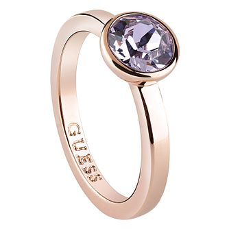 Guess Rose Gold Plated Lavender Swarovski Crystal Ring - Product number 6220673