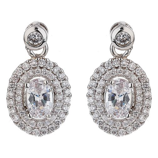 Mikey Silver Tone Cubic Zirconia Small Round Drop Earrings - Product number 6220789