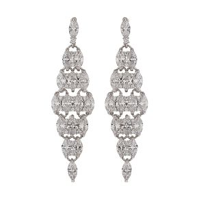 Mikey Silver Tone Crystal Set Fancy Long Drop Earrings - Product number 6220800