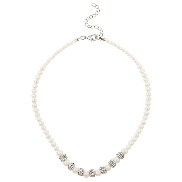 Mikey Silver Tone Imitation Pearl & Crystal Necklace - Product number 6220835