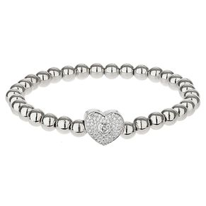 Mikey Silver Tone Crystal Heart & Key Ball Elastic Bracelet - Product number 6221017