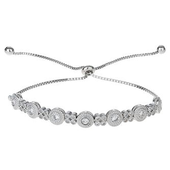 Mikey Silver Tone Flower Cubic Zirconia Adjustable Bracelet - Product number 6221076