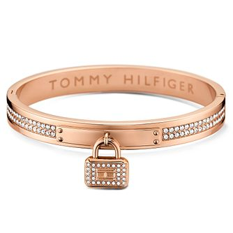 Tommy Hilfiger Rose Gold Plated Pave Bangle & Lock - Product number 6222900