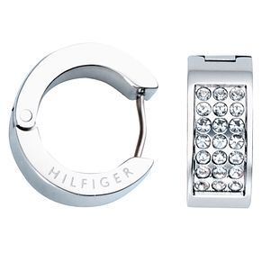 Tommy Hilfiger Stainless Steel Pave Huggie Earrings - Product number 6223044