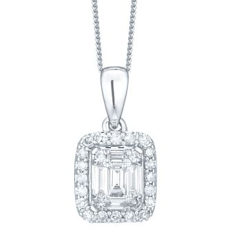9ct White Gold & Diamond Perfect Fit Pendant - Product number 6224075