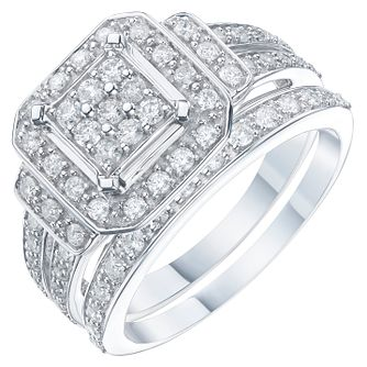 9ct White Gold 2/3 Carat Diamond Perfect Fit Bridal Set - Product number 6224083