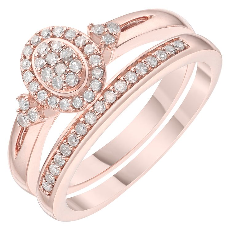 9ct Rose Gold 1/5ct Perfect Fit Bridal Set - Product number 6224393