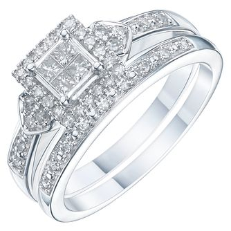 18ct White Gold 1/3ct Diamond Perfect Fit Bridal Set - Product number 6227430