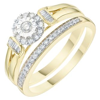 9ct Yellow Gold 1/4ct Diamond Perfect Fit Bridal Set - Product number 6227708