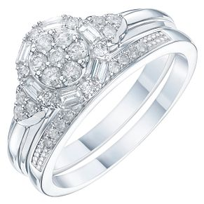 9ct White Gold 2/5ct Diamond Perfect Fit Bridal Set - Product number 6227856