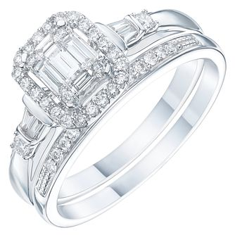 18ct White Gold 2/5ct Diamond Perfect Fit Bridal Set - Product number 6227988