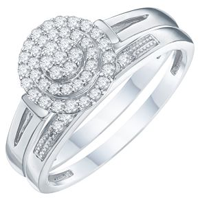 Argentium Silver Diamond Perfect Fit Bridal Set H Samuel