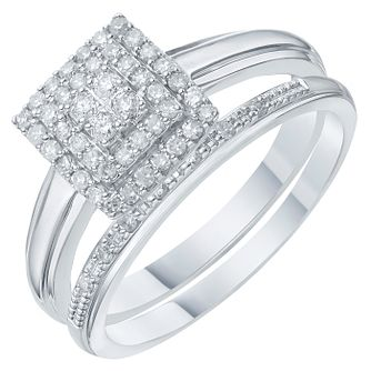 9ct White Gold 1/4ct Diamond Perfect Fit Bridal Set - Product number 6228798