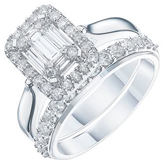 9ct White Gold 1ct Diamond Perfect Fit Bridal Set - Product number 6229360
