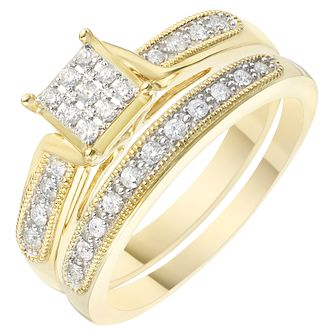 9ct Yellow Gold 1/5ct Diamond Perfect Fit Bridal Set - Product number 6229751